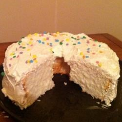 Angel food cake1 (with white frosting by Sierra)