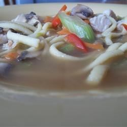 homemade chicken, veggie and noodle soup