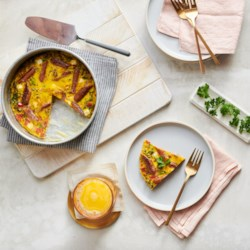 air fryer frittata with savory breakfast links and vegetables