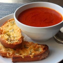 fresh tomato soup with crispy cheese toast printer friendly