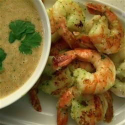 Grilled Prawns with a Spicy Peanut-Lime Vinaigrette Recipe