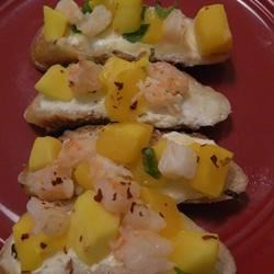 Shrimp and Mango Bruschetta