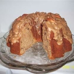 Sweet Potato Pound Cake topped with Caramel & Pecans