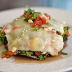 Portobello Bruschetta with Three Cheeses Recipe