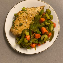 baked chicken breasts and vegetables printer friendly