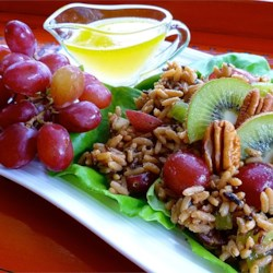 Nutty Wild Rice Salad with Kiwifruit and Red Grapes