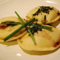 Mushroom and Spinach Ravioli with Chive Butter Sauce Recipe