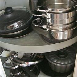 ...and her spinning pot/pan storage system