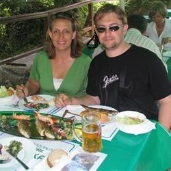 Enjoying a Croatian seafood feast