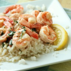 Lemony Shrimp over Brown Rice Recipe