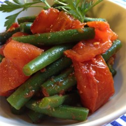 Steamed Green Beans with Roasted Tomatoes Recipe