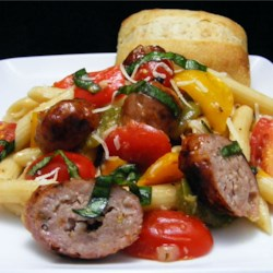 Grilled Italian Sausage and Peppers over Penne Pasta