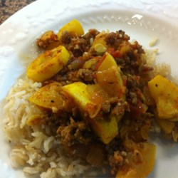 Spanish Squash over brown rice