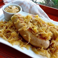 Beer Glazed Brats and Sauerkraut Recipe