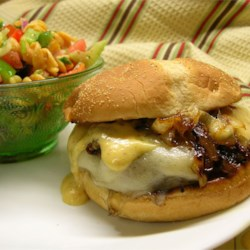 Kickin' Turkey Burger with Caramelized Onions and Spicy Sweet Mayo Recipe