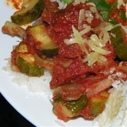 Roasted Garlic Zucchini and Tomatoes