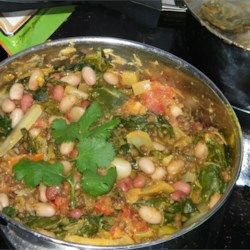 Spinach, Red Lentil, and Bean Curry Recipe