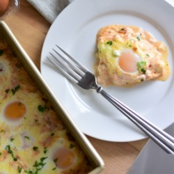 easy cheesy baked eggs printer friendly