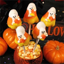 Candy Corn Ghost Cake Pops