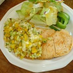 Grilled Chicken Breast with Cucumber and Pepper Relish Recipe