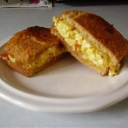 Scrambled Egg and Pepperoni Submarine Sandwich
