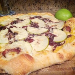 pumpkin hummus caramelized onion and fontina cheese pizzas