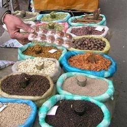 Street Vendors sell spices in India