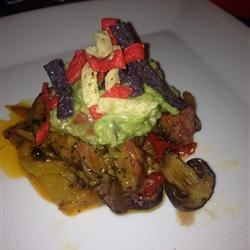 Filet Mignon with Bell Pepper Haystack and Fresh Guacamole Served with Corn Chips Recipe