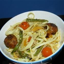Linguini with Roasted Vegetables and Tomato Basil Chicken Meatballs