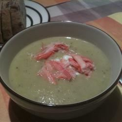 Asparagus and Yukon Gold Potato Soup with Crab and Chive Sour Cream Recipe