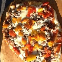 Roasted Sweet pepper & sausage pizza