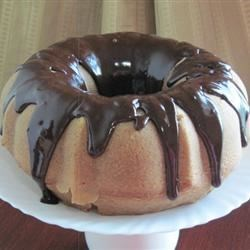 Chocolate Glaze on a Caramel Bundt Cake