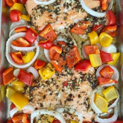 sheet pan salmon and bell pepper dinner printer friendly