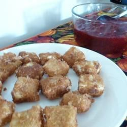 Crispy Brie Wedges with Cranberry Sauce