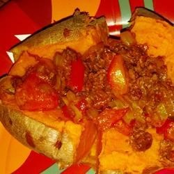 Baked Sweet Potato with Onions and Red Peppers