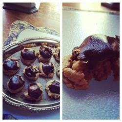 vegan peanut butter cookies with a chocolate ganache