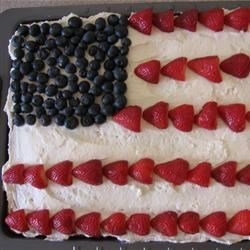 Frosted Banana Bars Flag Cake