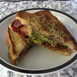 Photo of Sandwich with Bacon, Pistachio Pesto, and Tomato by Rashelle Godina