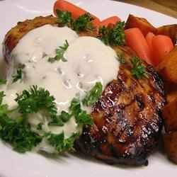 Garlic Cream Sauce over Chicken Breasts Recipe