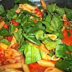 Cooking Chicken Sausage and Veggies with Penne Pasta