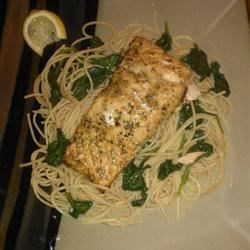 Rhino's Baked Salmon and spinach pasta!