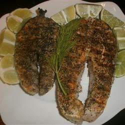 Grilled Salmon Steaks Italian-Style