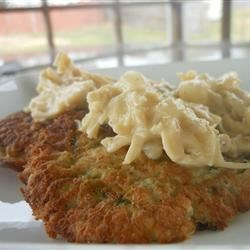 Zucchini Pancakes with Chicken Sauce