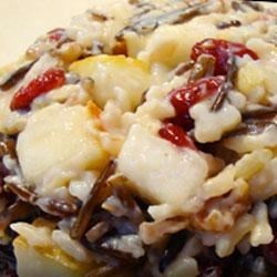 Festive Coconut Wild Rice with Cranberries and Pears