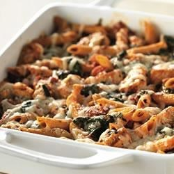 Three-Cheese Chicken Penne Pasta Bake Recipe