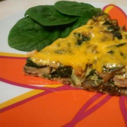 Garlicky Ham, Mushroom, and Spinach Frittata Recipe