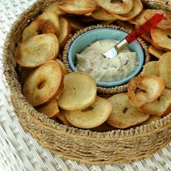 Homemade Bagel Chips with Blue Cheese Olive Spread