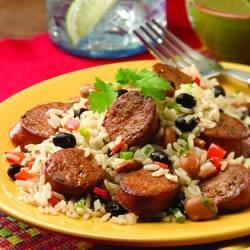 Cuban Beans and Rice with Chipotle Chorizo Chicken Sausage