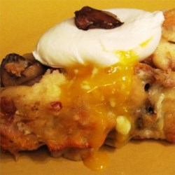 Savory Bread Pudding with Poached Egg