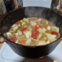Braised Chicken and Artichoke Hearts with Lemon, Cherry Peppers and Thyme Recipe